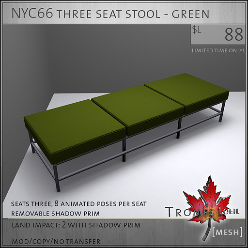 NYC66-three-seat-stool-green-L88