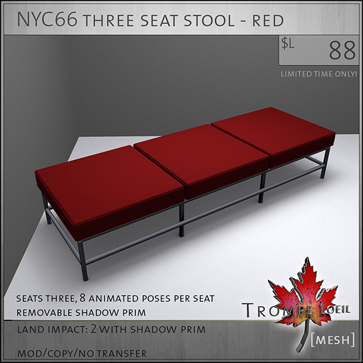 NYC66-three-seat-stool-red-L88
