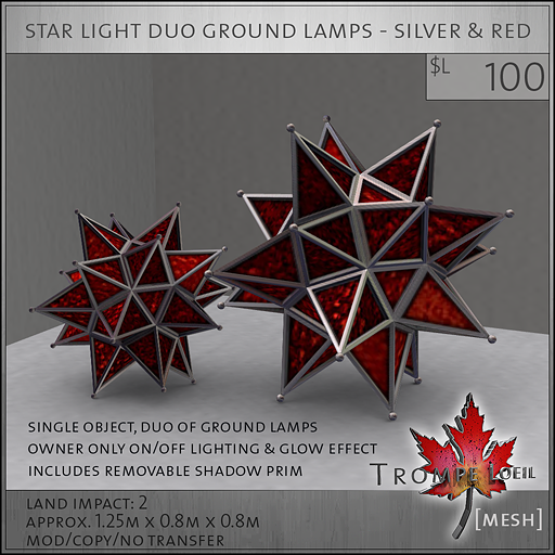 star light duo ground lamps silver red L100