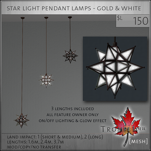 star light pendant lamps gold white L150