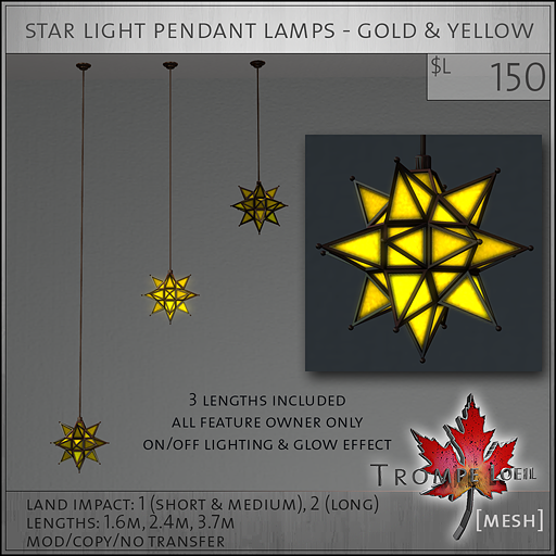 star light pendant lamps gold yellow L150