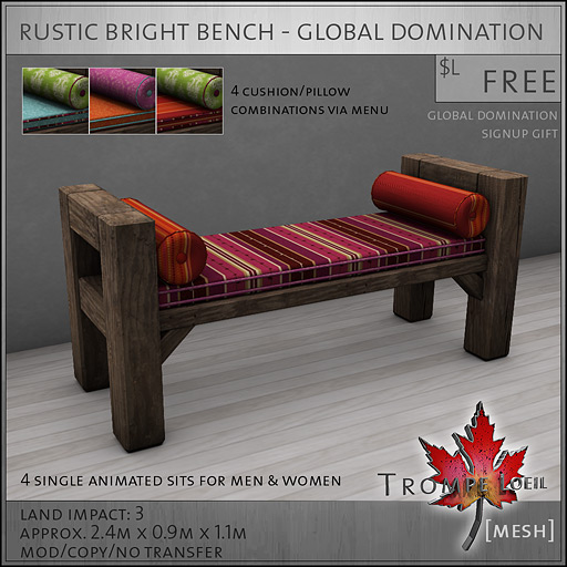 Trompe-Loeil---Rustic-Bright-Bench---Global-Domination-Signup-Gift