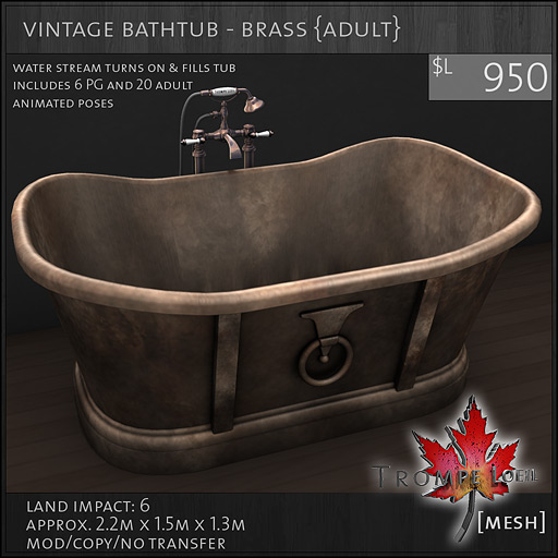 vintage bathtub brass Adult L950  Vintage Bathroom pieces fun and  functional for FaMESHed March. Bathtub Brass   makitaserviciopanama com