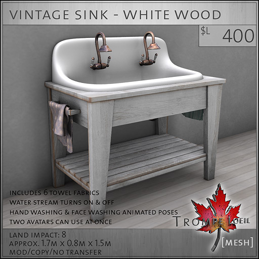 ... vintage-sink-white-wood-L400 - Vintage Bathroom Pieces – Fun And Functional For FaMESHed March