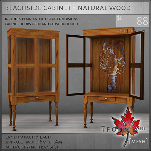beachside cabinet natural wood L88
