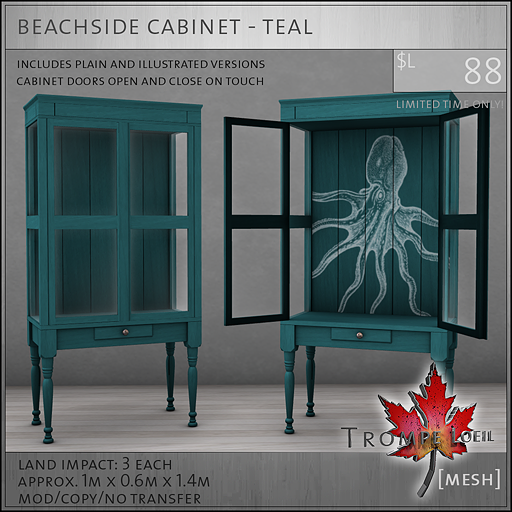 beachside cabinet teal L88