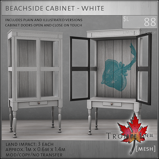 beachside cabinet white L88