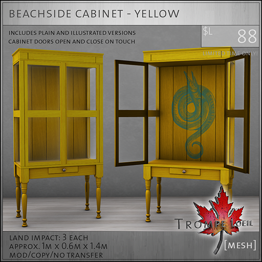 beachside cabinet yellow L88