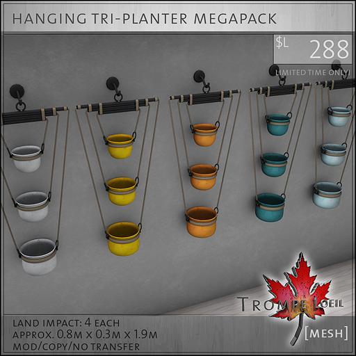 hanging tri-planter megapack L288