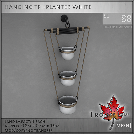 hanging tri-planter white L88