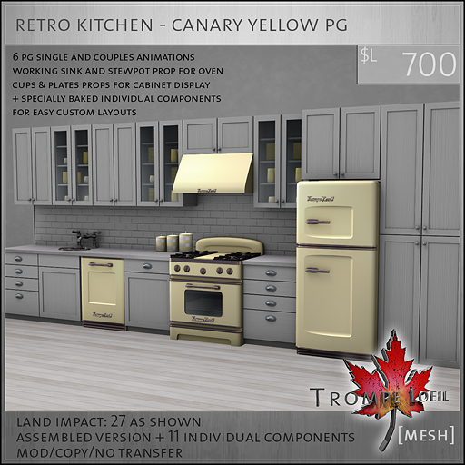 retro kitchen canary yellow PG L700