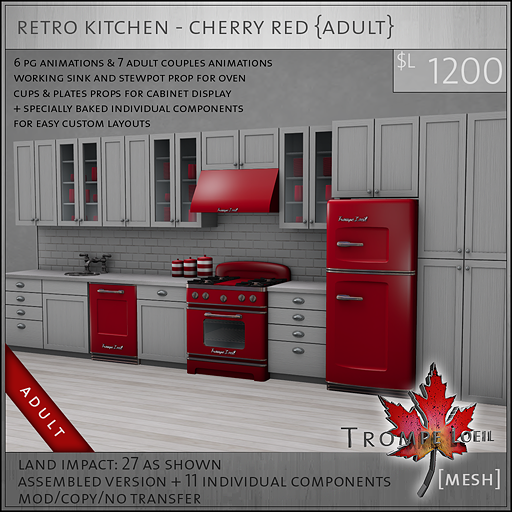 retro kitchen cherry red A L1200