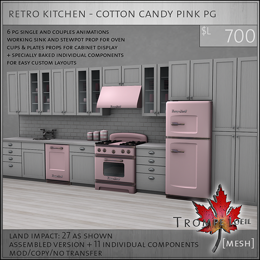 retro kitchen cotton candy pink PG L700