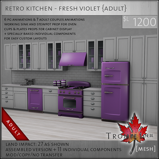 retro kitchen fresh violet A L1200