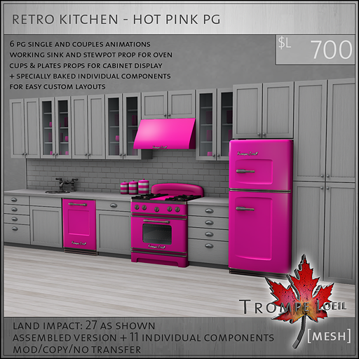 retro kitchen hot pink PG L700