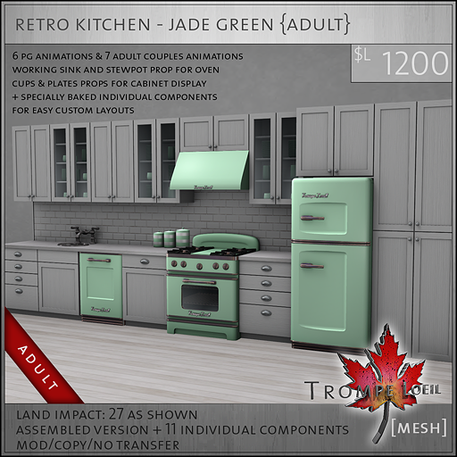 retro kitchen jade green A L1200