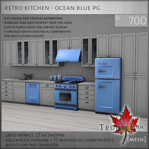 retro kitchen ocean blue PG L700