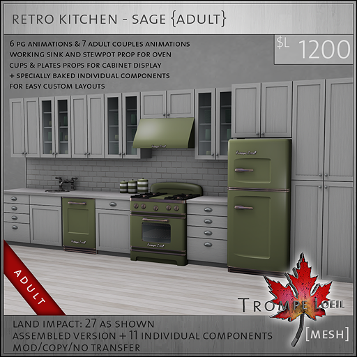 retro kitchen sage A L1200