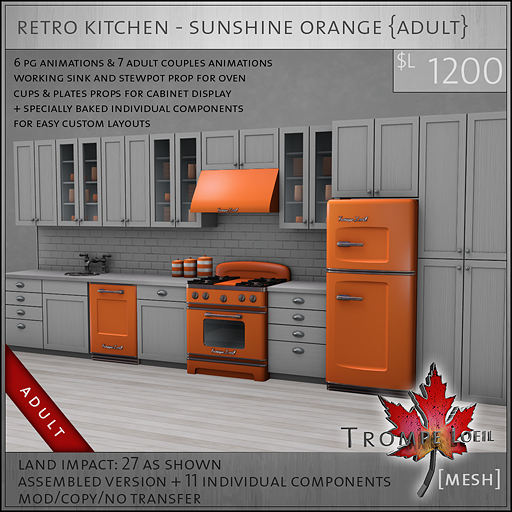 retro kitchen sunshine orange A L1200