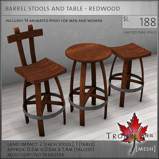 barrel stools and table redwood L188