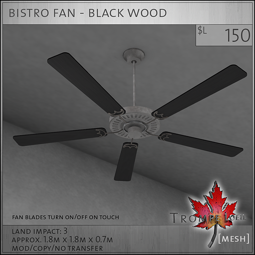 bistro fan black wood L150