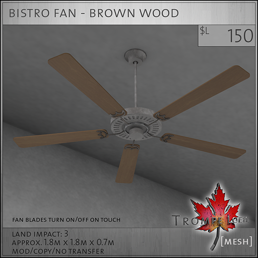 bistro fan brown wood L150