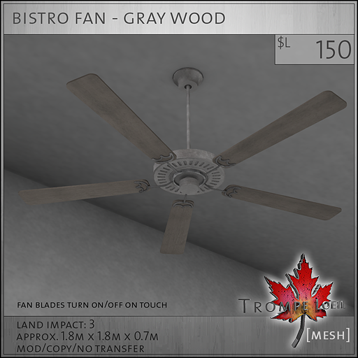 bistro fan gray wood L150