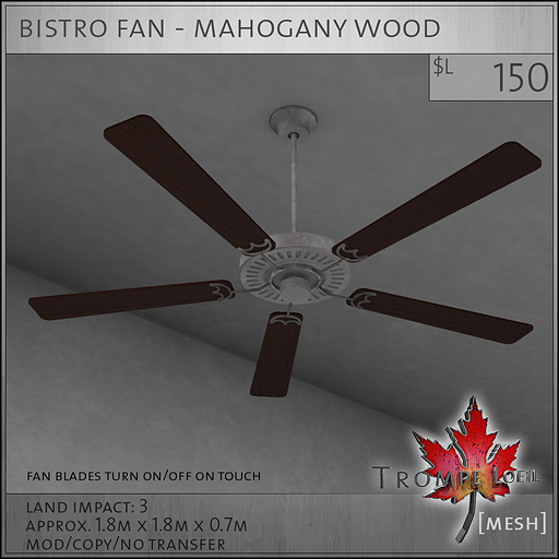 bistro fan mahogany wood L150