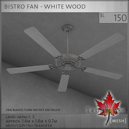 bistro fan white wood L150