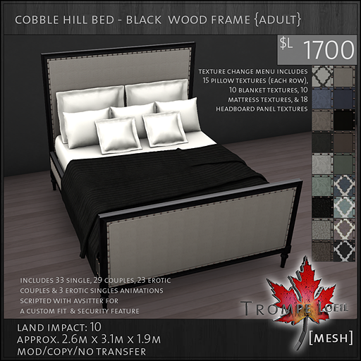 cobble hill bed black wood frame Adult L1700