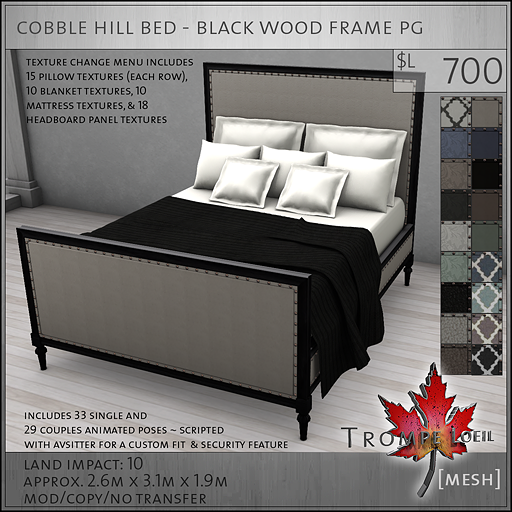 cobble hill bed black wood frame PG