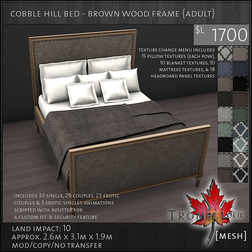 cobble hill bed brown wood frame Adult