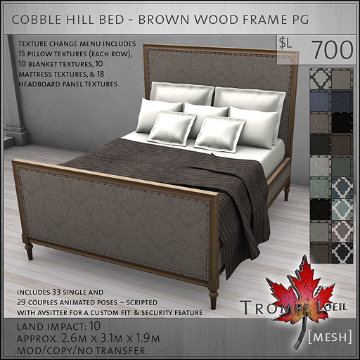 cobble hill bed brown wood frame PG