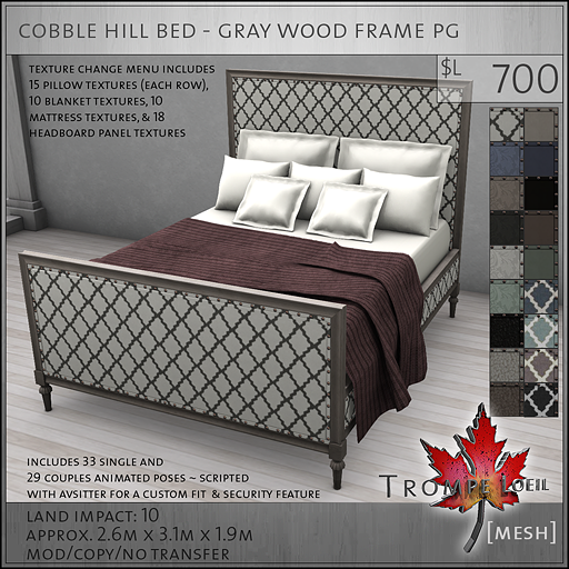 cobble hill bed gray wood frame PG
