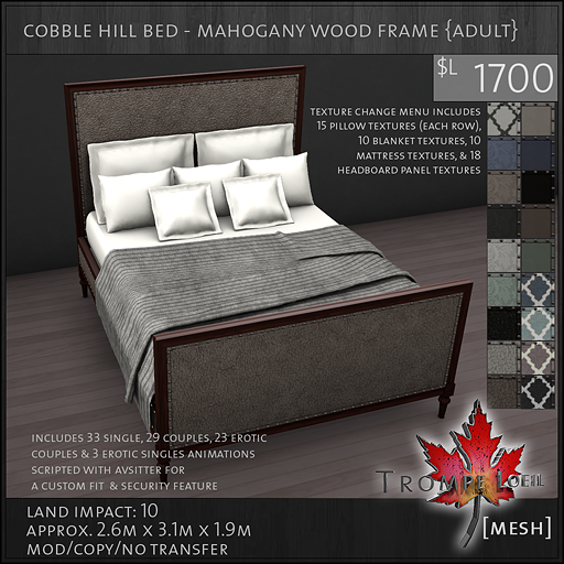 cobble hill bed mahogany wood frame Adult