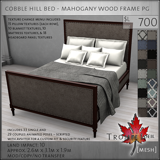 cobble hill bed mahogany wood frame PG