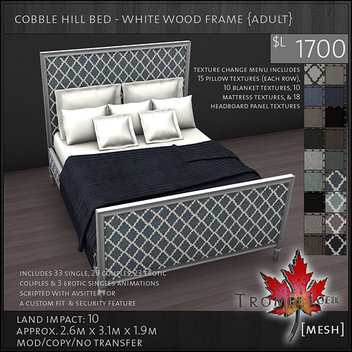 cobble hill bed white wood frame Adult