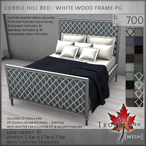 cobble hill bed white wood frame PG