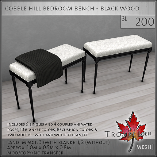 cobble hill bedroom bench black wood L200