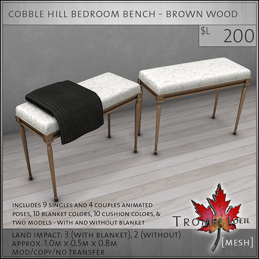 cobble hill bedroom bench brown wood L200
