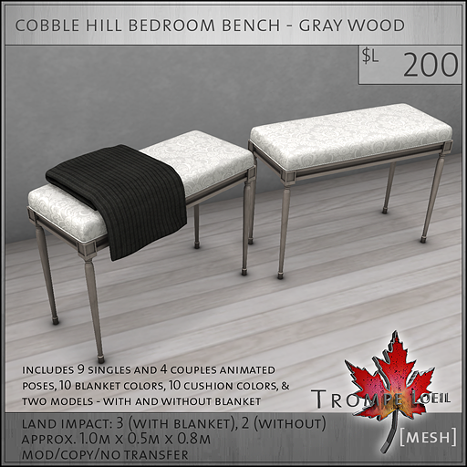 cobble hill bedroom bench gray wood L200