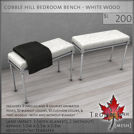 cobble hill bedroom bench white wood L200