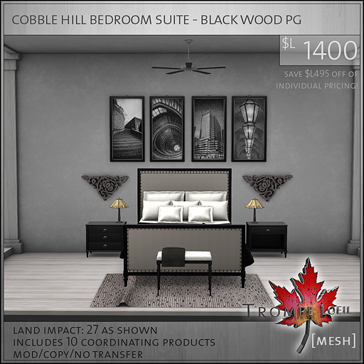 cobble hill bedroom suite black wood PG L1400