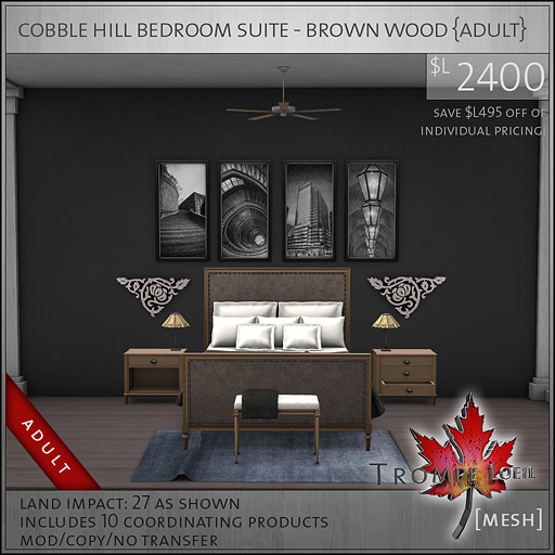 cobble hill bedroom suite brown wood Adult L2400