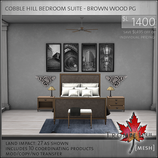 cobble hill bedroom suite brown wood PG L1400