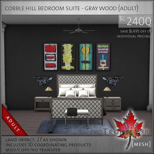 cobble hill bedroom suite gray wood Adult L2400