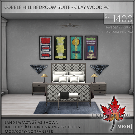 cobble hill bedroom suite gray wood PG L1400