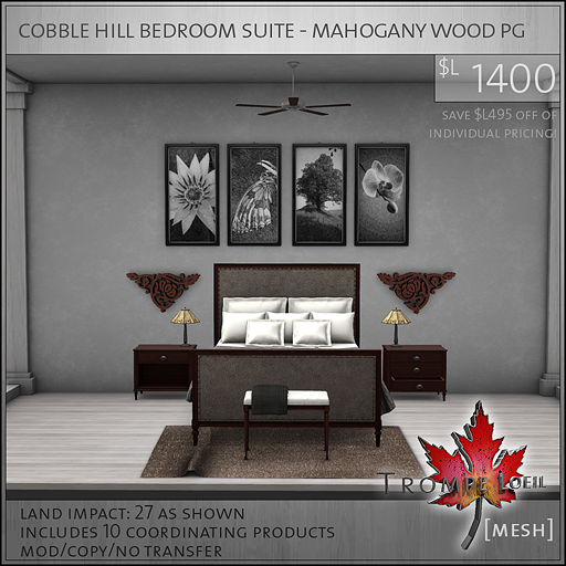 cobble hill bedroom suite mahogany wood PG L1400