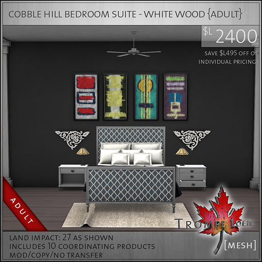 cobble hill bedroom suite white wood Adult L2400
