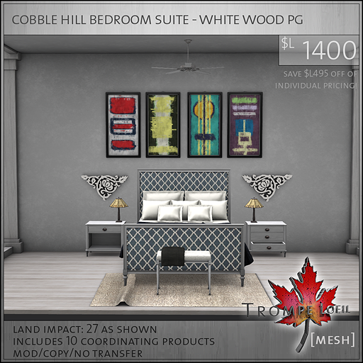 cobble hill bedroom suite white wood PG L1400